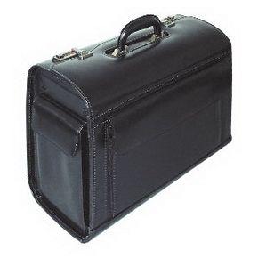 Ādas koferis Rondo RILLSTAB, melns - 200-03174  147.20