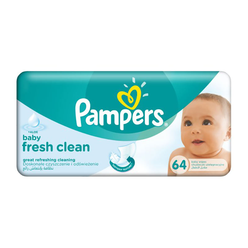 Mitrās salvetes PAMPERS Baby Fresh Clean, 64 gab./iepak.