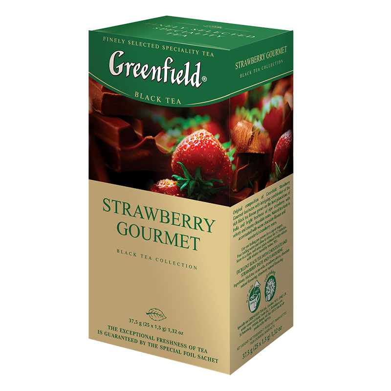 Melnā tēja GREENFIELD STRAWBERRY GOURMET, 25 x 1...